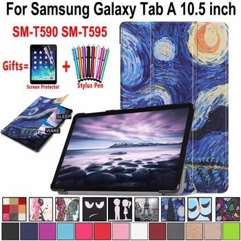 Case for Samsung Galaxy Tab A A2 10.5  2018 T590 T595 SM-T590 SM-T595 Magnetic Leather Awake Smart Sleep Cover Coque Funda