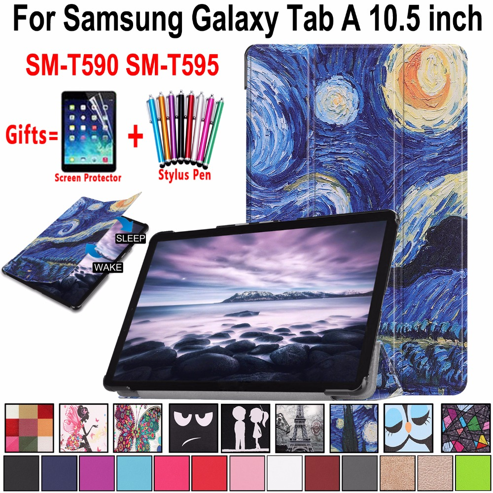 Case for Samsung Galaxy Tab A A2 10.5 inch 2018 T590 T595 SM-T590 SM-T595 Magnetic Leather Awake Smart Sleep Cover Coque Funda new 10 5 2018 hd lcd display panel screen monitor touch screen assembly for samsung galaxy tab a2 t590 t595 sm t595 sm t590