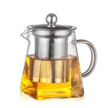 3 размера Хороший ясный боросиликатный стеклянный чайник с 304 нержавеющим стальным ситечком для заваривания тепла кофе Sqaure чайник Набор инструментов чайник