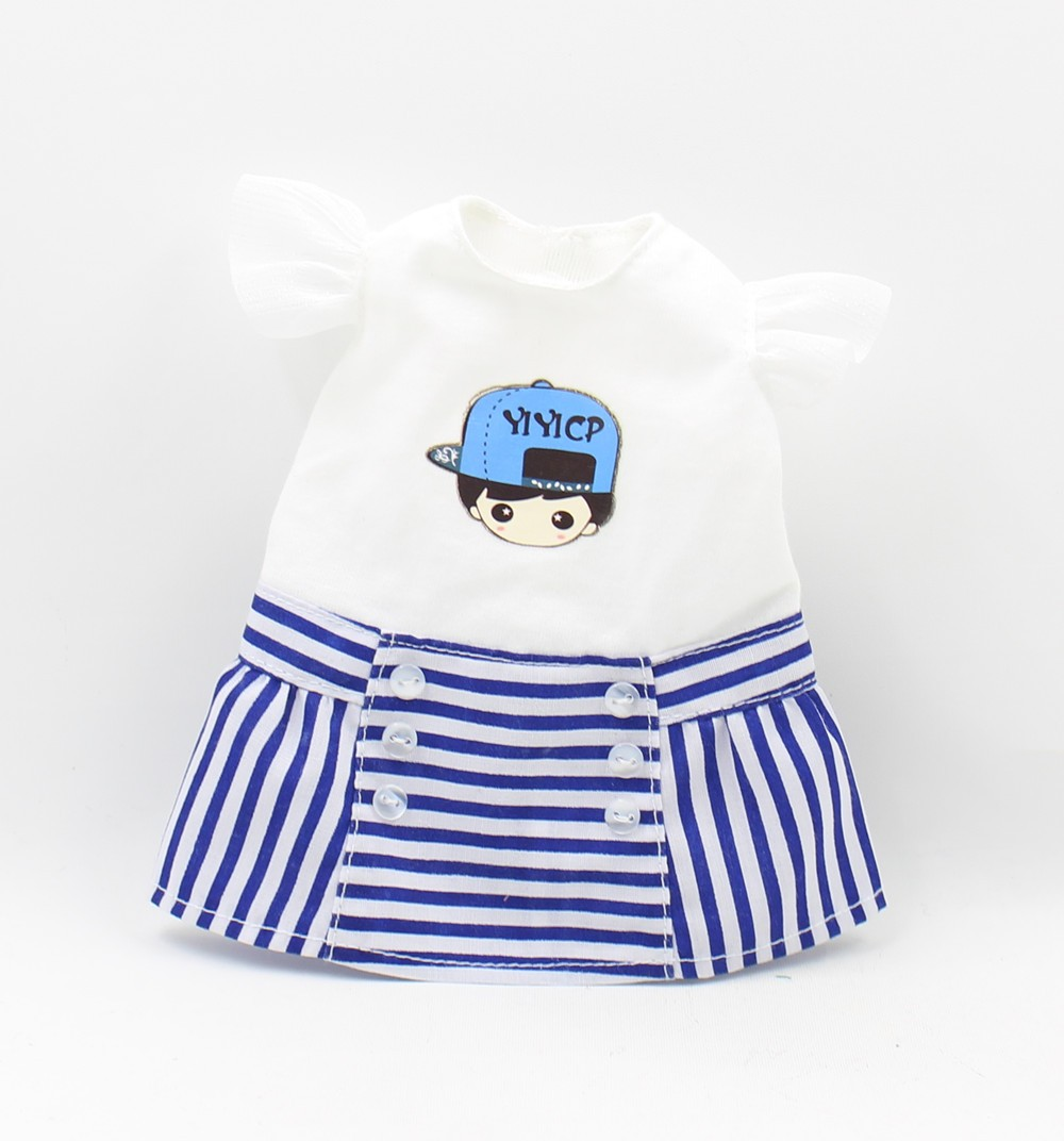Neo Blythe Doll Plump Doll Dress White Blue Suit 1
