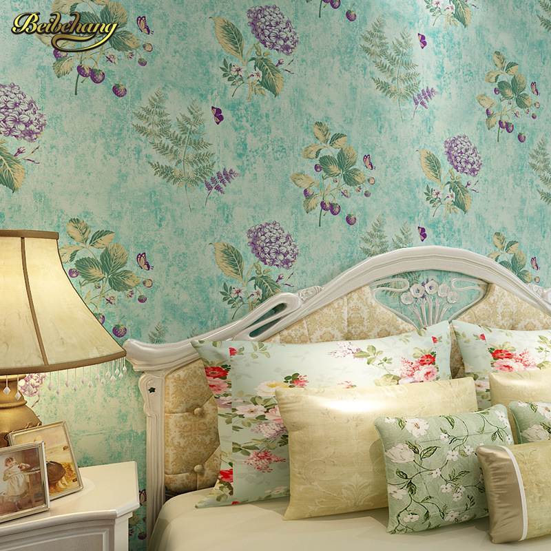beibehang Non-woven wallpaper American pastoral retro flower vine wallpaper background wallpaper the living room bedroom bedside non woven bubble butterfly wallpaper design modern pastoral flock 3d circle wall paper for living room background walls 10m roll