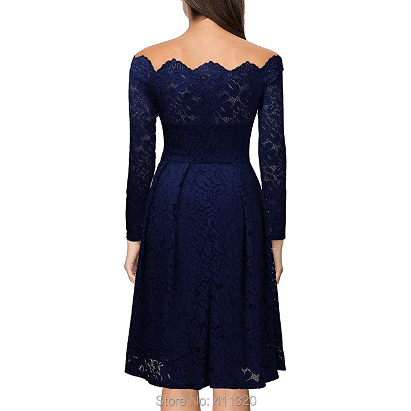 Robe Femme Sexy Vintage Floral Lace Dress Women Elegant Long Sleeve 50s 60s Retro Style Rockabilly Swing Wedding Party Dress (6)