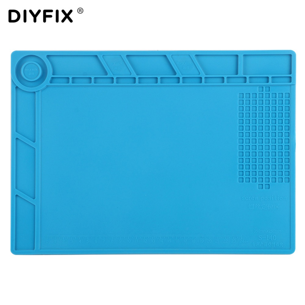 цена на DIYFIX S140 35x25cm Heat Insulation Silicone Pad Desk Mat Maintenance Platform with Magnetic Section BGA Soldering Repair Tool
