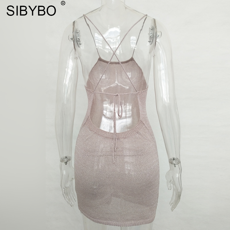 9d2dab950558 Sibybo Sexy Summer Beach Dress Women 2018 Halter Sleeveless Short Mini  Sundress Vestido Elegant Knitted Backless Bodycon Dresses-in Dresses from  Women s ...