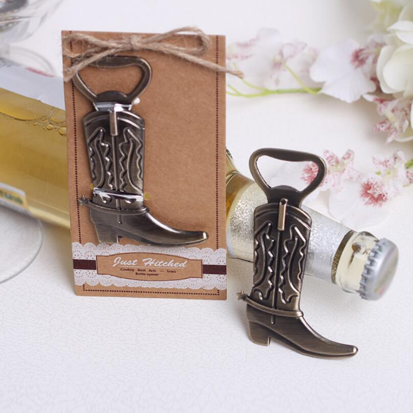 500pcs/lot Just HitchedCowboy Boot Bottle Opener Wedding Favor Souvenirs Bridal Shower Gift For Guest LX1710