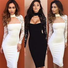 Sexy Women Lace Pencil Dress Long Sleeve Sexy Low Cut Dress Bandage Bodycon Evening Party Package Hip Dress