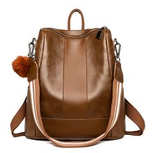 PU Leather Retro Waterproof Shoulder Bag Anti-Theft Schoolbag Backpack for Women Girls Travel Use Supplies Birthday Gifts