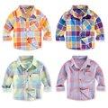 Весна осень 100% хлопок мальчиков плед рубашки с длинным рукавом малышей лето тонкий Вс защитная одежда 1-3 лет мальчик одежда