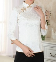 Summer Traditional Chinese Fashion 2014 Womens Tops Blouse Shirt Short Sleeves Size S M L XL
