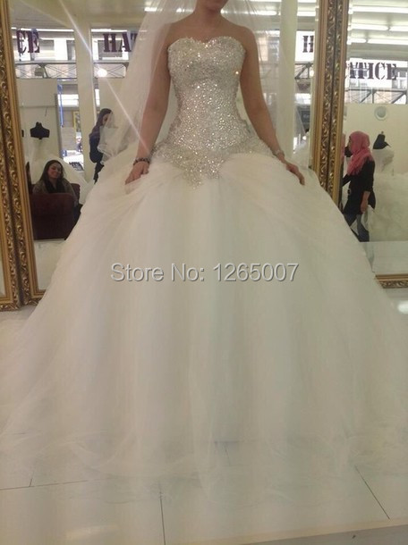 Hot Sweetheart Sparkly Rhineston Beaded Sequins Shiny Top Ball Gown Tulle  Beautiful Princess Wedding Dresses Bridal Gowns 294e51521936