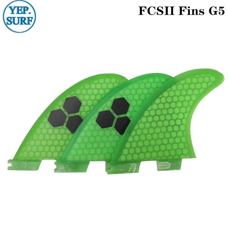 Surfboard FCS2 G5 fins Green color Honeycomb Fibreglass fin Tri fin set