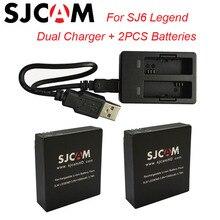 SJCAM 2 шт. SJ6 Аккумуляторы 3.8 В 1000 мАч аккумуляторная Батарея + двойной Зарядное устройство для SJCAM SJ6 Легенда Спорт действий Камера Интимные аксессуары