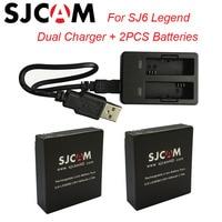 2PCS SJ6 Batteries Rechargable Battery Dual Charger For SJCAM SJ6 Legend Sport Action Camera Accessories