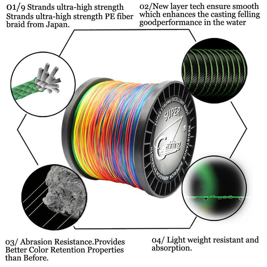 צובר 9 גדילים 300m 500m 1000m 1500m צמת חוט סופר צבעים PE קלועה דיג קו חזק דגי כוח קו 20LB-200LB