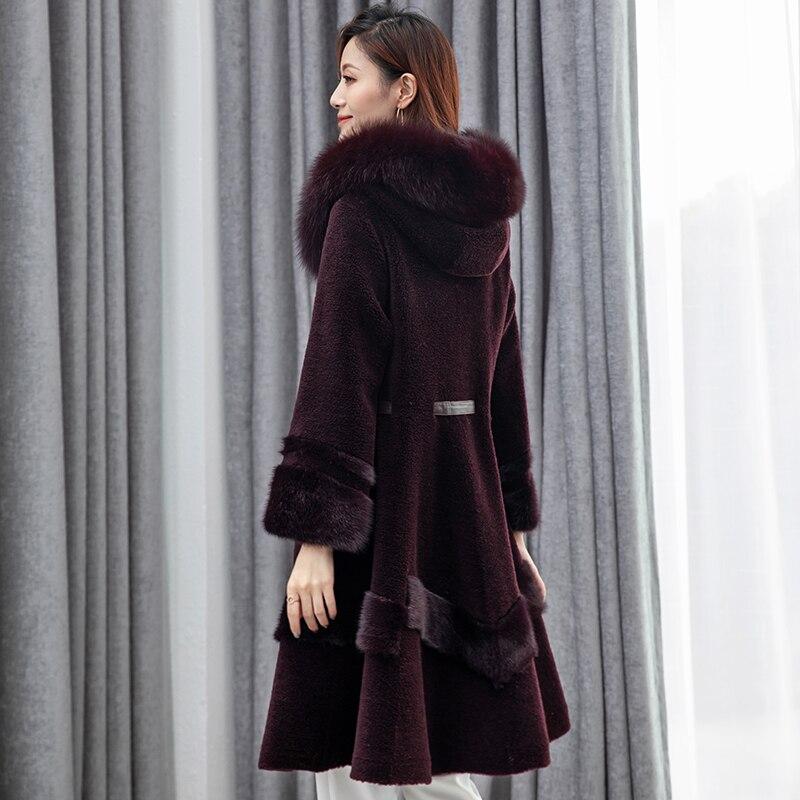 Laine Manteau Vraie Vêtements Cru Renard Col Veste pourpre Fourrure Nouveau Z917 camel De Hiver Noir gris Automne Tops Vison Femmes wEd7dqgR