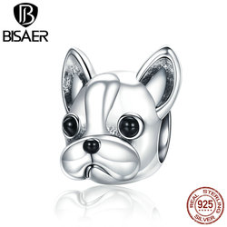 925 Sterling Silver English French Bulldog Lovely Dog, Cute Animal European Beads Charms Fit Original Bead Bracelets & Necklaces