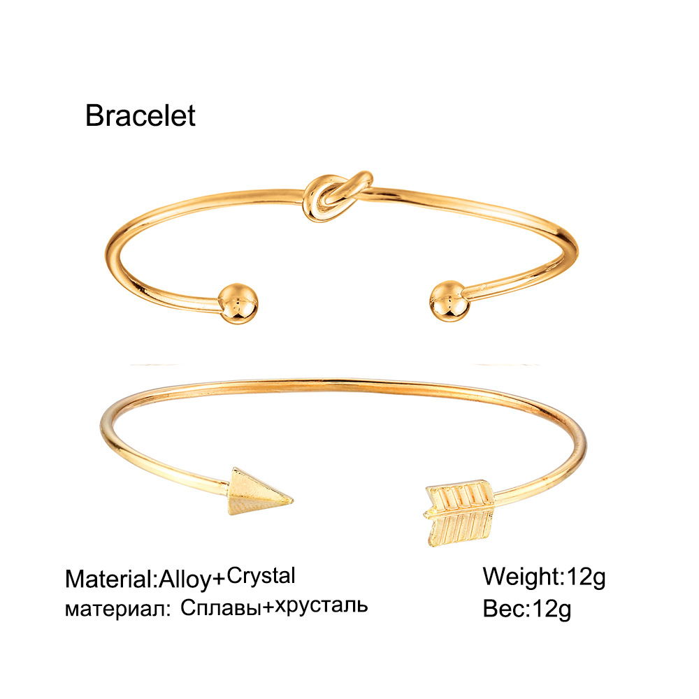 US $1 57 50% OFF|Gold Color Opened Bracelets For Women Fashion Jewelry  Arrow Knot Wrap Cuff Bracelets & Bangles Vintage Charms Pulseras Mujer-in