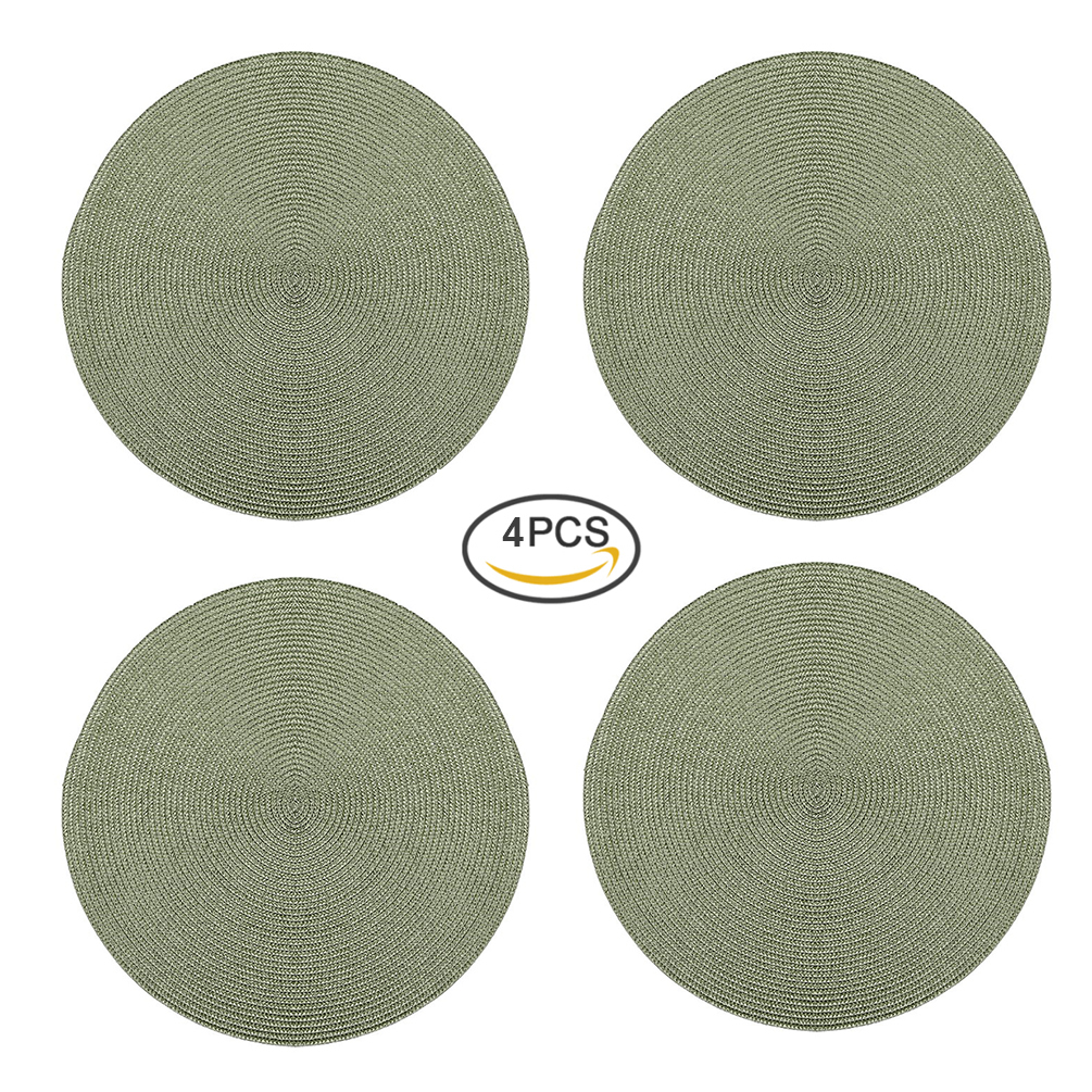 Uarter 4PCS 15 Diameter Knitted Placemat Round Dinner Mat Eco-friendly Bowl Pad Decorative Coasters