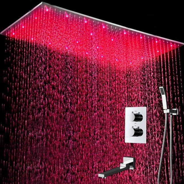 Thermostatics douche set LED Large Rainfall Ceiling Shower Bathtubs Faucets/ 3 Way Rain Shower System Bath Kits /  Square Shower