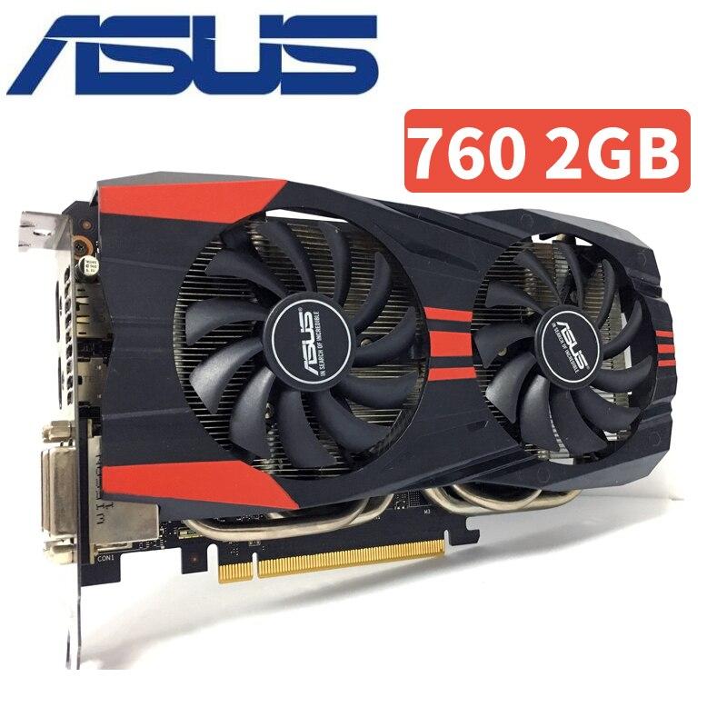 Asus GTX760 2 gb D5 DDR5 256Bit PC Bureau GTX 760 2g GTX760 2g Cartes Graphiques PCI Express 3.0 ordinateur carte Vidéo HDMI