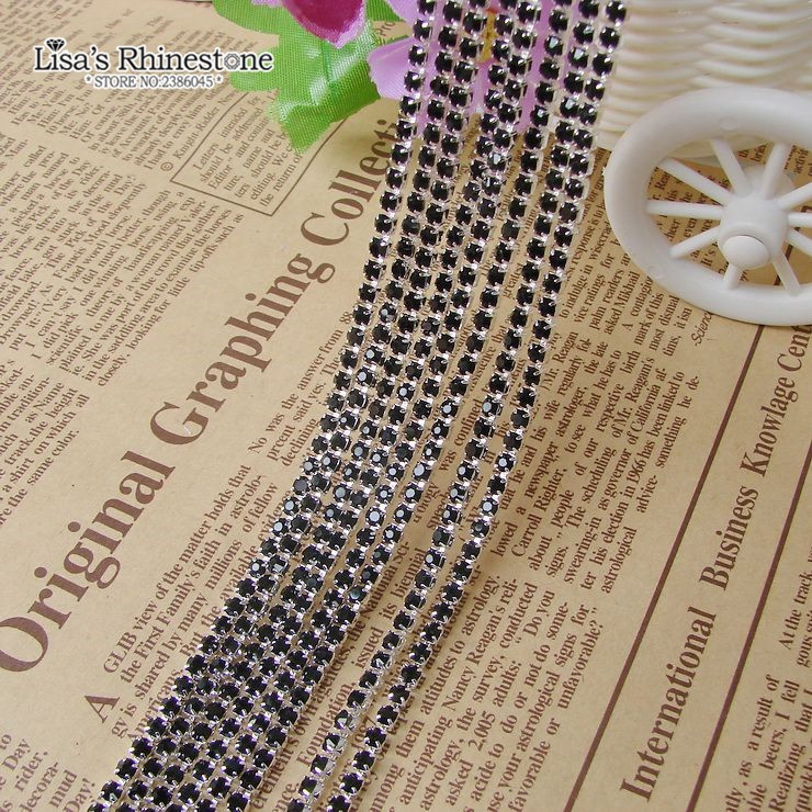 SS6 3.6 Meters Rhinestone Chain Various Colors Crystal Compact Close Gold Chain