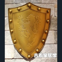 The European Medieval Iron Shield Ancient Rome Antique Metal Bar One Living Room Wall Decoration Background