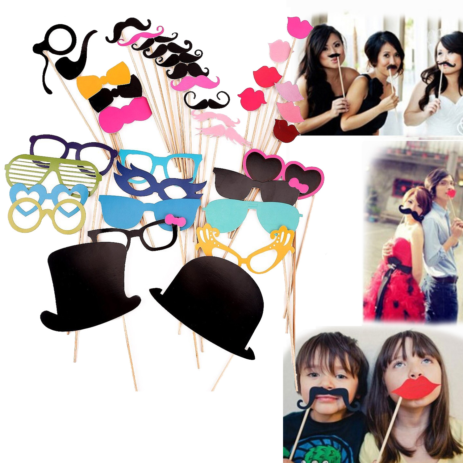 Satkago 36Pcs DIY Photo Booth Photography Props Accessories Mustache Glasses Lips Caps On A Stick for Happy Fun Wedding Party