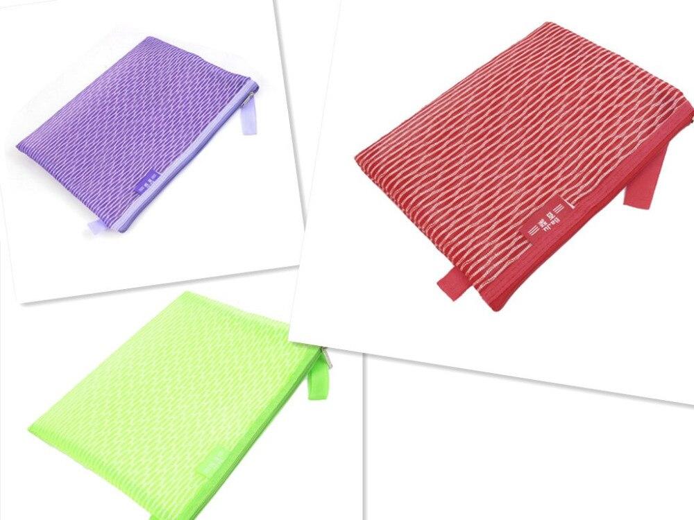 5PCS Purple/Green/Red PVC Gridding Zipper Closure A4 Paper File Bag Office Document Holder school portable hand strap zipper closure files document bag black