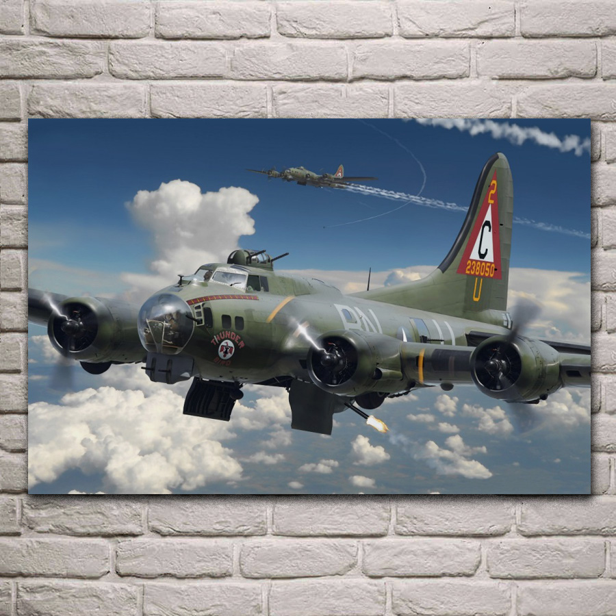 aircraft airplane fighter military model boeing b 17 flying fortress KA004 room home wall modern art decor wood frame poster image
