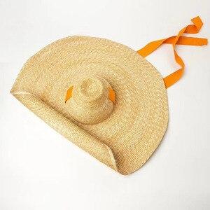 Image 4 - Kadınlar için doğal dokuma dev hasır şapka büyük ağzına kadar disket güneş şapkası yüksek Top şerit bant dev Jumbo Sombrero şapka yetişkin yaz plaj şapkası