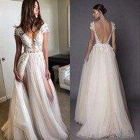 Sexy Split 2018 Wedding Gowns Deep V Neck Appliques Backless High Slit Beach Boho Princess Bridal Gowns Cheap Custom Bride Dress