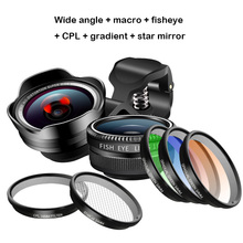 лучшая цена phone camera Lens telephoto Portrait bokeh lens Wide angle + macro + fisheye + CPL + gradient + star mirror FOR smartphone