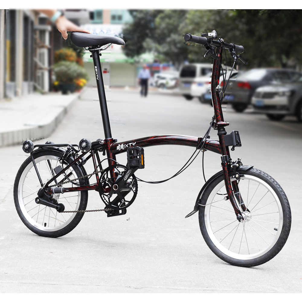 "3SIXTY Chrome Steel Folding Bike 16"" 349 Urban Commuter Bicycle with Caliper Brake Rear Rack Inner 3 Speed Foldable Bikes"