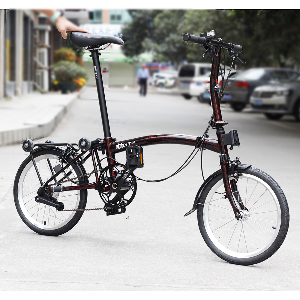 3SIXTY Chrome Steel Folding Bike 16 349 Urban Commuter Bicycle with Caliper Brake Rear Rack Inner 3 Speed Foldable Bikes image