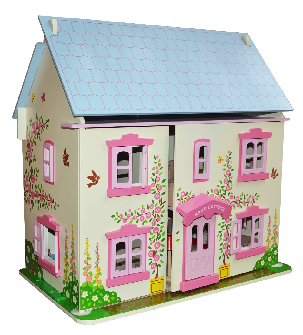 12 Scale DIY Wooden Dollhouse Miniature Kit 32pcs Furnitures 6pcs Family Dolls
