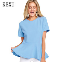 KEXU Summer New Womens O Neck Short Sleeve Zipper T-shirt Solid Color Small Fresh and Sweet Lotus Leaf Top Ladies Casual Ropa