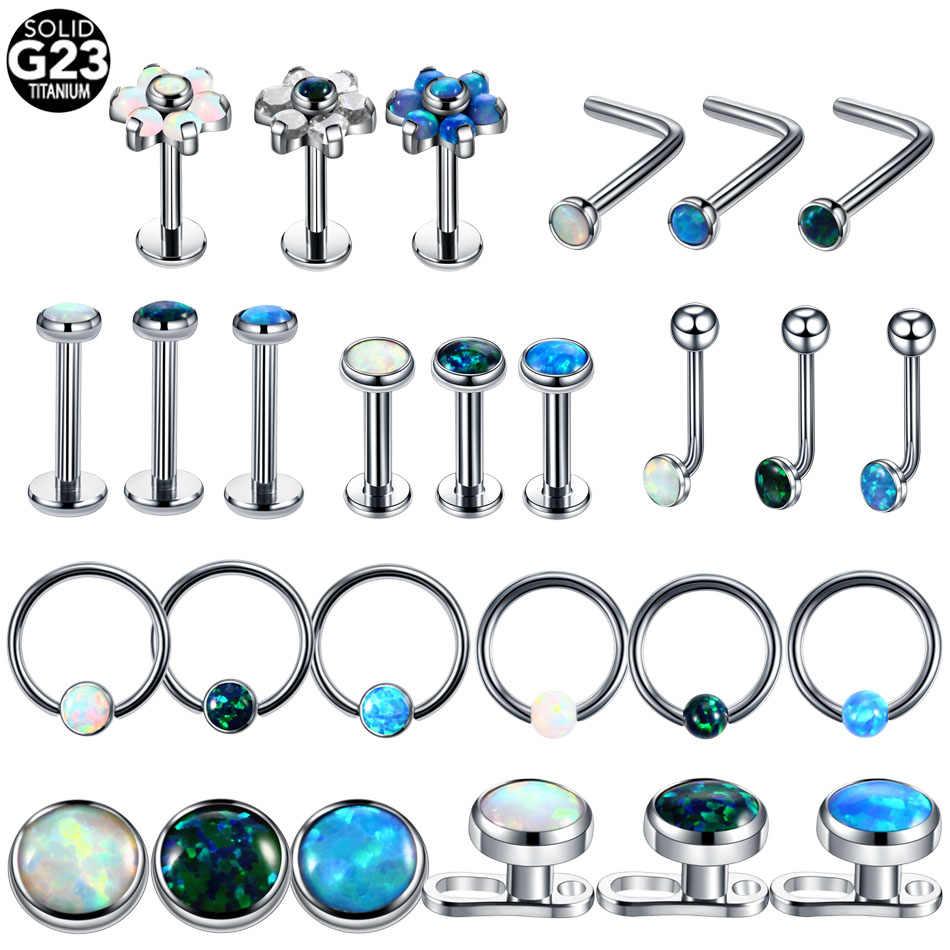 Detail Feedback Questions About 1pc Titanium Opal Labret Nostril