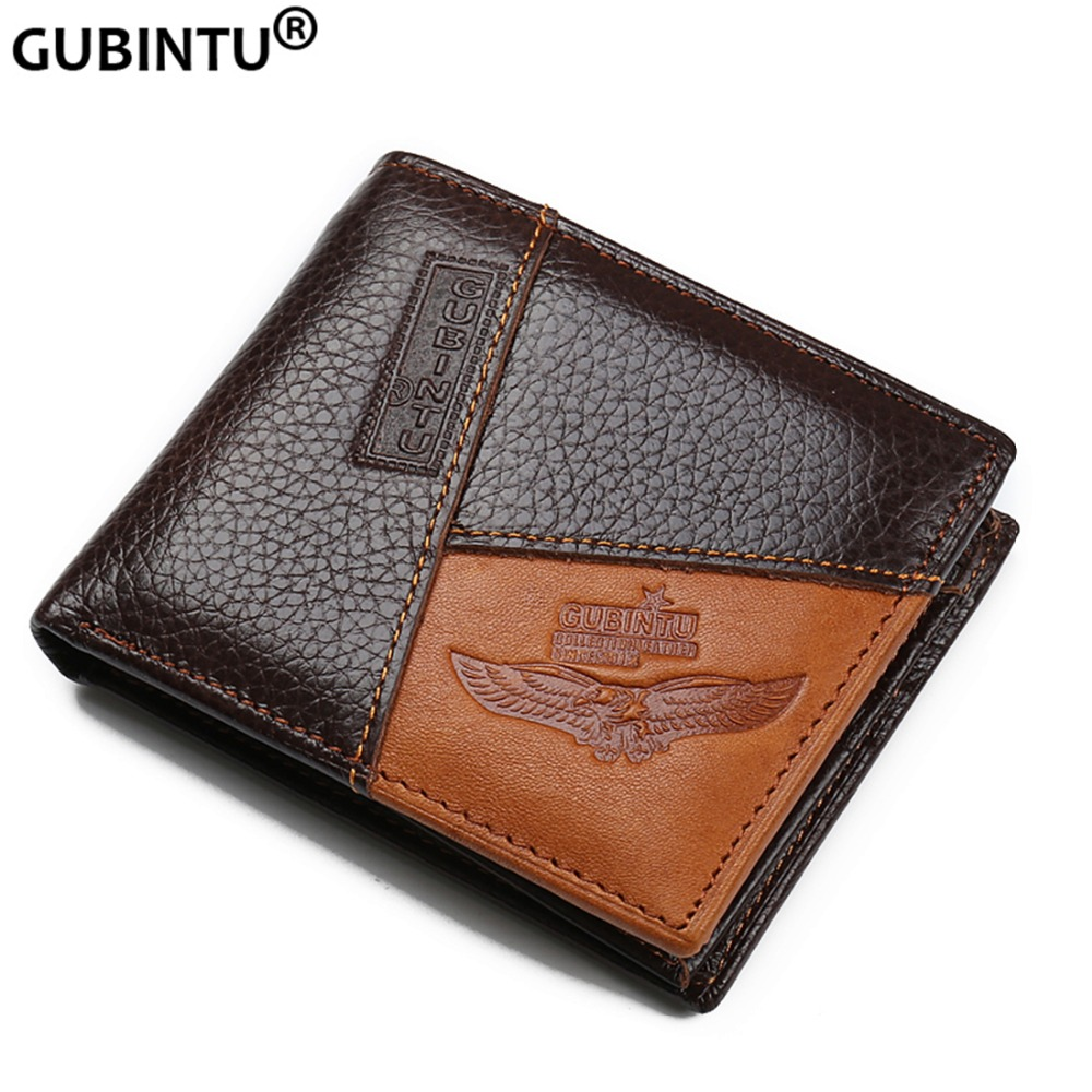 GUBINTU Genuine Leather Men Wallets Coin Pocket Zipper Real Men's Leather Wallet with Coin High Quality Male Purse cartera (China)