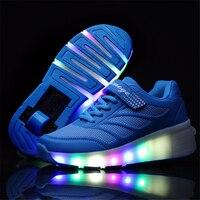 2017 Chrismas Gift Design Causal Sneakers With Wheel Boy Roller Skate Shoes Girl Zapatillas Zapatos Con