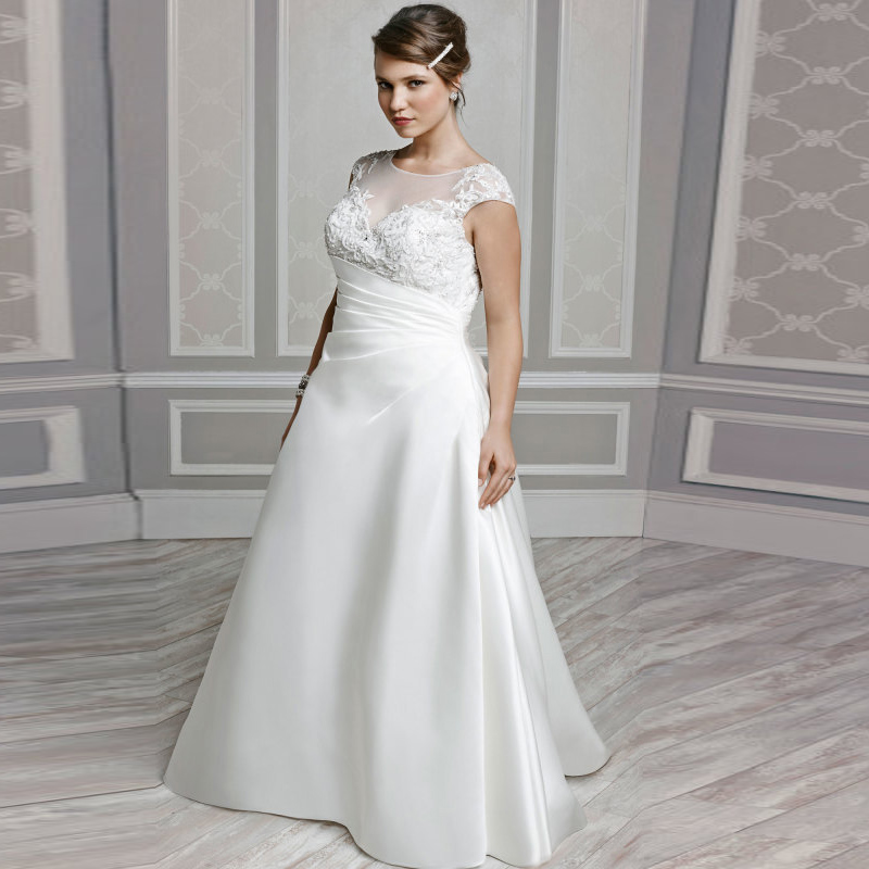 plus size wedding dress bridal gown appliques cap sleeve wedding gowns