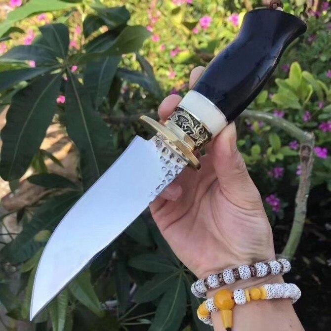 7Cr17Mov couteau de chasse à lame fixe en acier couteaux de survie en plein air pour randonnée Camping outil, couleur bois + cuivre poignée offre spéciale