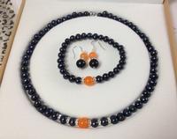 Qw14 negro perlas cultivadas de akoya/orange pulseras de piedra aretes collar fijaron >^^ 1> reloj de cuarzo piedra de cristal de la cz (