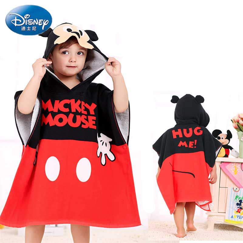 Disney Childrens Hooded Bath Towel Baby 100% cotton gauze cloak beach towel Mickey and Minnie Cartoon Cape Robe Dropship