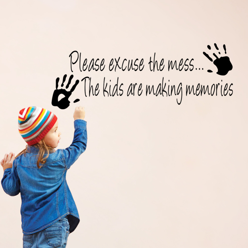 compare prices on wall quotes kids online shopping buy low price please excuse the mess kids make memory home decor vinyl wall decal quote sticker inspiration living