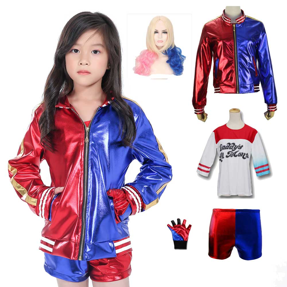 Girls Joker Suicide Squad Embroidery Jacket Cosplay Childrens Harley Quinn Fashion Red Blue Costume Suit With Shirt Shorts Wig