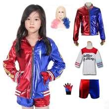 37864fd1 Meisjes Joker Suicide Squad Borduren Jas Cosplay kinderen Harley Quinn  Fashion Rood Blauw Kostuum Pak Met Overhemd Shorts Pruik