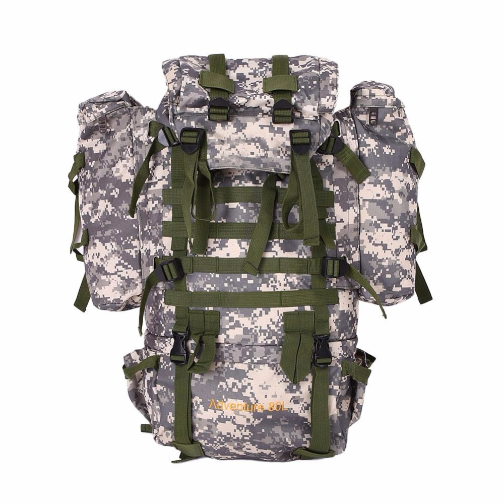 Фотография Men 80L Camouflage Waterproof hiking camping Bag Pouch Cycling Bike bags unisex Camouflag backpacks for Travel Hike Climbing bag