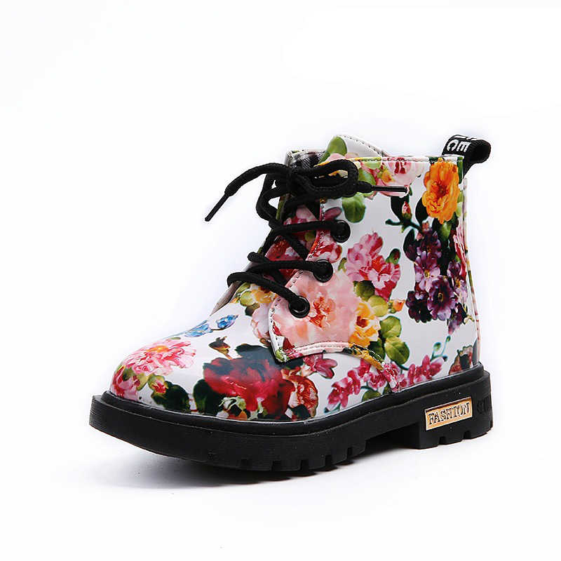 7aa80b97bd Kids shoes for girl boot waterproof leather print flowers girls martin  boots autumn winter fashion girls plus velvet ankle boots