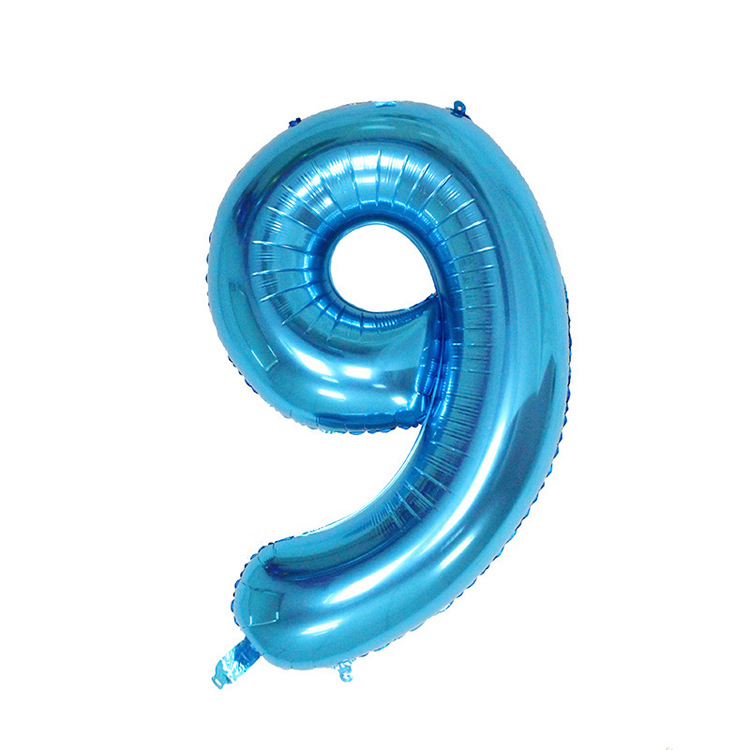 32 дюйма розовый синий 40 дюймов красный фольгированный шар большой гелиевый номер 0-9 Globo день рождения для детей Вечеринка мультфильм шляпа Декор - Цвет: blue 9