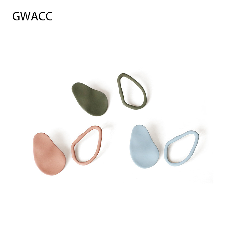 GWACC 2019 NEW Design Matte Colorful Stud Earrings For Women Girls Creative Vintage Elegant Irregular Earrings Fashion Jewelry in Stud Earrings from Jewelry Accessories